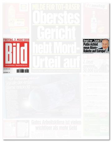 Ausriss Bild-Titelseite mit der Atom-Raketen-Schlagzeile