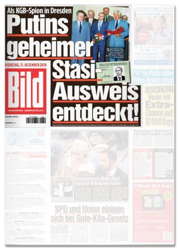 Ausriss Bild-Titelseite - Als KGB-Spion in Dresden - Putins geheimer Stasi-Ausweis entdeckt!