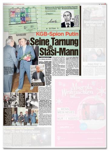 Ausriss Bild-Zeitung - KGB-Spion Putin - Seine Tarnung als Stasi-Mann