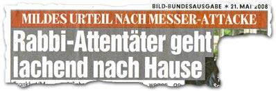 """""""Mildes Urteil nach Messer-Attacke: Rabbi-Attentäter geht lachend nach Hause"""""""