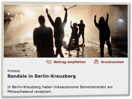 Protest: Randale in Berlin-Kreuzberg. In Berlin-Kreuzberg haben linksautonome Demonstranten am Mittwochabend randaliert.