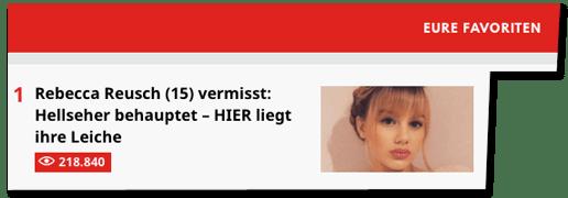 Screenshot Der Westen - Eure Favoristen - dazu eine Hitliste mit den meistgelesenen Artikel von Der Westen - auf Platz eins der Artikel zum Hellseher - von bisher 218.840 Personen gelesen