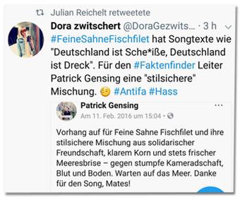 Screenshot von Reichelts Retweet - Der Account DoraGezwitscher twitterte Feine Sahne Fischfilet hat Songtexte wie Deutschland ist Scheiße, Deutschland ist Dreck. Für den Faktenfinder-Leiter Patrick Gensing eine stilsichere Mischung
