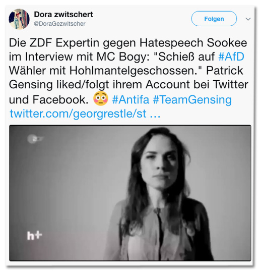 Screenshot eines Tweets von Dora Gezwitscher - Die ZDF Expertin gegen Hatespeech Sookee im Interview mit MC Bogy: