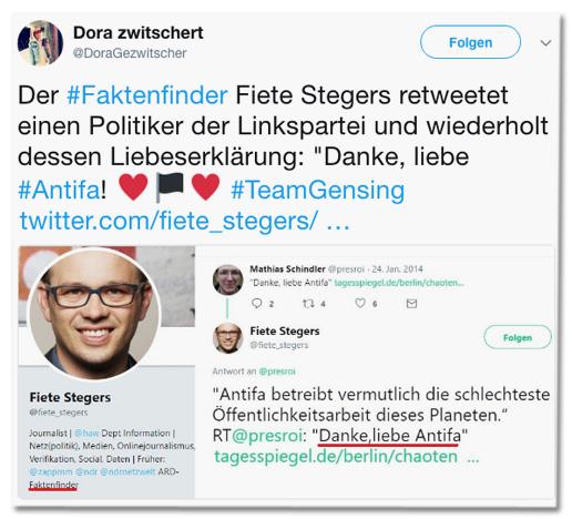 Screenshot eines Tweets von Dora Gezwitscher - Der Faktenfinder Fiete Stegers retweetet einen Politiker der Linkspartei und wiederholt dessen Liebeserklärung: Danke, liebe Antifa!