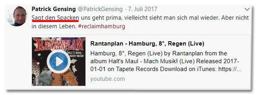 Screenshot des Tweets von Patrick Gensing, den Dora Gezwitscher kommentiert - Sagt den Spacken uns geht es prima vielleicht sieht man sich mal wieder. Aber nicht in diesem Leben