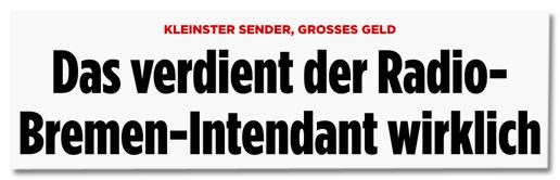 Screenshot Bild.de - Kleinster Sender, großes Geld - Das verdient der Radio-Bremen-Intendant wirklich