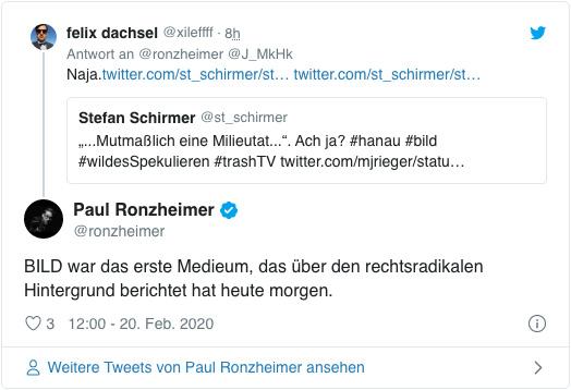 Screenshot eines Tweets des stellvertretenden Bild-Chefredakteurs Paul Ronzheimer - Bild war das erste Medium, das über den rechtsradikalen Hintergrund berichtet hat heute morgen.