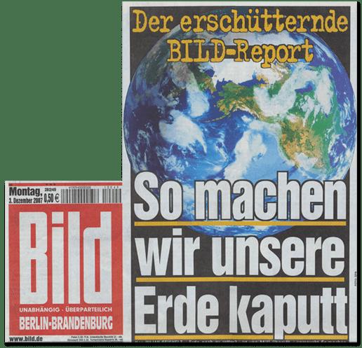 Ausriss Bild-Titelseite - Der erschütternde Bild-Report - So machen wir unsere Erde kaputt