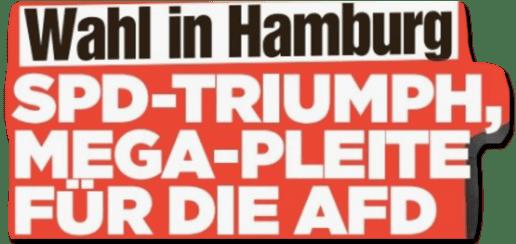 Ausriss Bild-Zeitung - Wahl in Hamburg - SPD-Triumph, Mega-Pleite für AfD