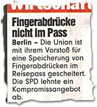 """""""Fingerabdrücke nicht im Pass"""""""