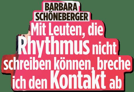 Ausriss Bild-Zeitung - Barbara Schöneberger - Mit Leuten, die Rhythmus nicht schreiben können, breche ich den Kontakt ab