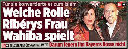 Screenshot Bild.de - Für sie konvertierte er zum Islam - Welche Rolle Ribérys Frau Wahiba spielt