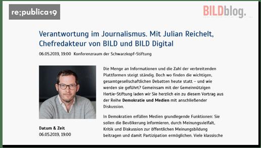 Screenshot unserer Präsentation bei der Republica - darauf zu sehen: Eine Ankündigung der Schwarzkopf-Stiftung zu einer Veranstaltung mit Bild-Chef Julian Reichelt zum Thema Verantwortung im Journalismus