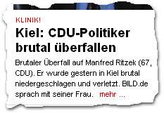 """Kiel: CDU-Politiker brutal überfallen"""