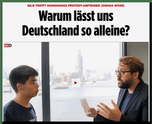 Screenshot BILD.de: BILD trifft Hongkongs Protest-Anführer Joshua Wong - Warum lässt uns Deutschland so alleine? [Dazu ein Foto, auf dem sich Wong und Ronzheimer gegenüberstehen]