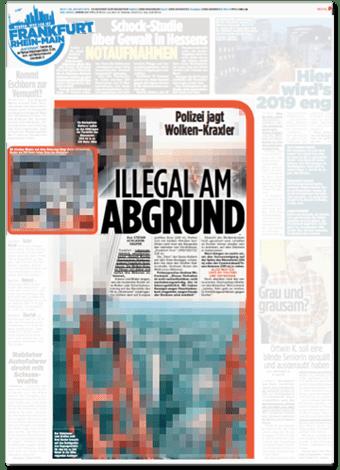 Ausriss Bild-Zeitung - Polizei jagt Wolken-Kraxler - Illegal am Abgrund