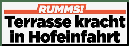 Schlagzeile: RUMMS! Terrasse kracht in Hofeinfahrt