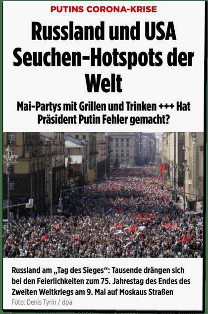 Screenshot Bild.de - die bereits zitierte Überschrift und dazu ein Foto, das sehr viele Menschen auf einem Haufen bei einer Feierlichkeit. In der Bildunterschrift steht: Russland am Tag des Siegen: Tausende drängen sich bei den Feierlichkeiten zum 75. Jahrestag des Endes des Zweiten Weltkriegs am 9. Mai auf Moskaus Straßen