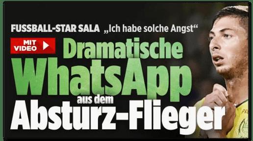 Screenshot Bild.de - Fußball-Star Sala Ich habe solche Angst - Dramatische WhatsApp aus dem Absturz-Flieger