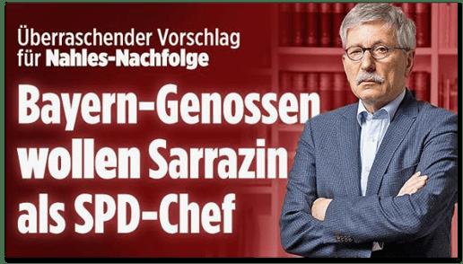Screenshot Bild.de - Überraschender Vorschlag für Nahles-Nachfolge - Bayern-Genossen wollen Sarrazin als SPD-Chef