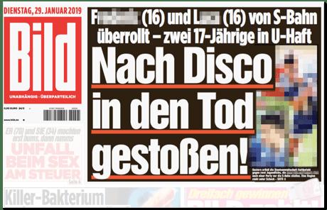 Ausriss Bild-Titelseite - F (16) und L (16) von S-Bahn überrollt - zwei 17-Jährige in U-Haft - Nach Disco in den Tod gestoßen - dazu zwei unverpixelte Fotos der verstorbenen Jugendlichen