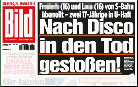 Ausriss Bild-Titelseite - F (16) und L (16) von S-Bahn überrollt - zwei 17-Jährige in U-Haft - Nach Disco in den Tod gestoßen - ohne irgendwelche Fotos der verstorbenen Jugendlichen