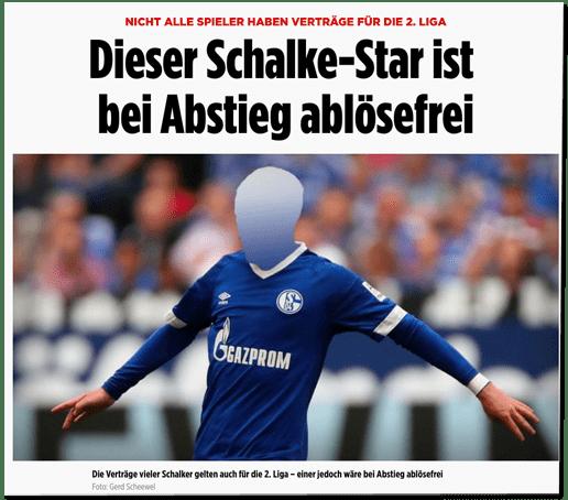 Screenshot Bild.de - Nicht alle Spieler haben Verträge für die 2. Liga - Dieser Schalke-Star ist bei Abstieg ablösefrei