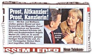 """""""Prost, Altkanzler! Prost, Kanzlerin!"""""""