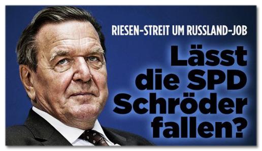 Ausriss Bild.de - Riesen-Streit um Russland-Job - Lässt die SPD Schröder Fallen?