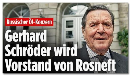 Ausriss Bild.de - Russischer Öl-Konzern - Gerhard Schröder wird Vorstand von Rosneft