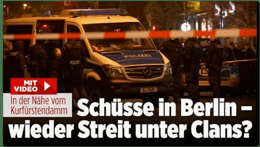 Screenshot Bild.de - In der Nähe vom Kurfürstendamm - Schüsse in Berlin - wieder Streit unter Clans?