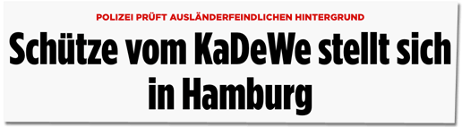 Screenshot Bild.de - POLIZEI PRÜFT AUSLÄNDERFEINDLICHEN HINTERGRUND - Schütze vom KaDeWe stellt sich in Hamburg