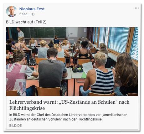 Screenshot eines Facebook-Posts von Nicolaus Fest, der den Bild.de-Artikel teilt