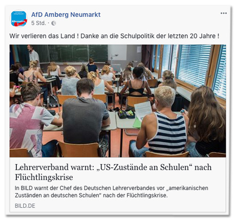 Screenshot eines Facebook-Posts der AfD Amberg Neumarkt, der den Bild.de-Artikel teilt