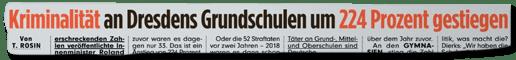 Ausriss Bild-Zeitung - Kriminalität an Dresdens Grundschulen um 224 Prozent gestiegen