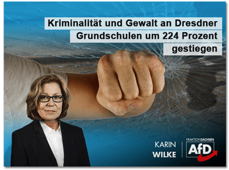 Screenshot eines Posts der AfD-Fraktion - Karin Wilke - Kriminalität und Gewalt an Dresdner Grundschulen um 224 Prozent gestiegen