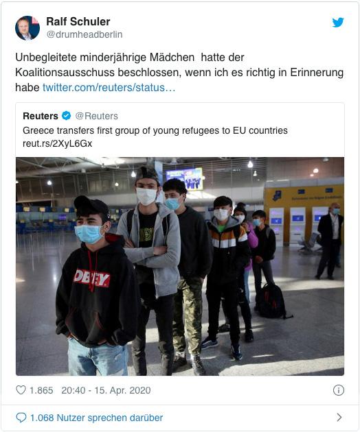 Screenshot eines Tweets von Bild-Parlamentsbüroleiter Ralf Schuler - Unbegleitete minderjährige Mädchen hatte der Koalitionsausschuss beschlossen, wenn ich es richtig in Erinnerung habe