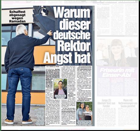 Ausriss Bild-Zeitung - Schulfest abgesagt Ramadan Ramadan - Warum dieser deutsche Rektor Angst hat