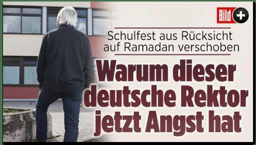Screenshot Bild.de - Schulfest aus Rücksicht auf Ramadan verschoben - Warum dieser deutsche Rektor jetzt Angst hat
