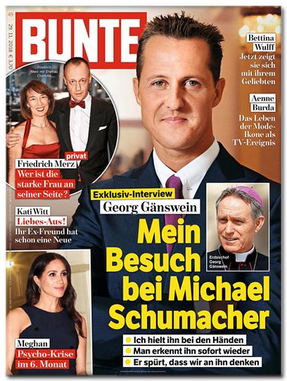 Ausriss Bunte-Titelseite: Exklusiv-Interview - Georg Gänswein - Mein Besuch bei Michael Schumacher - Ich hielt ihn bei den Händen - Man erkennt ihn sofort wieder - Er spürt, dass wir an ihn denken