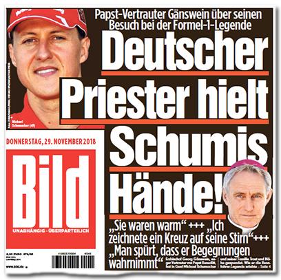 Ausriss Bild-Titelseite: Deutscher Priester hielt Schumis Hände! - Sie waren warm - Ich zeichnete ein Kreuz auf seine Stirn - Man spürt, dass er Begegnungen wahrnimmt