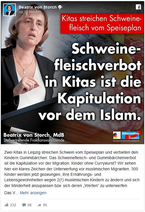 """Screenshot der Facebookseite der AfD-Politikerin Beatrix von Storch: """"Schweinefleischverbot in Kitas ist die Kapitulation vor dem Islam."""""""