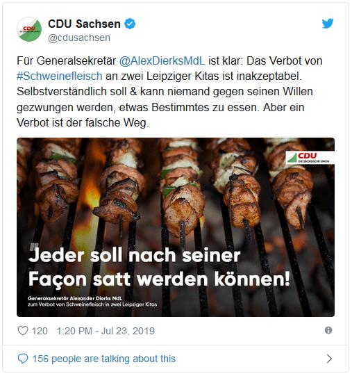 """Tweet der CDU Sachsen: """"Jeder soll nach seiner Facon satt werden können!"""""""