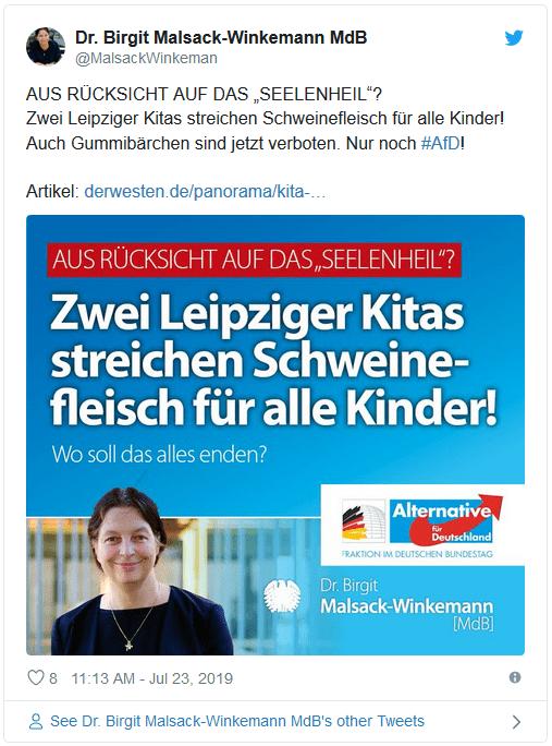 """Tweet der AfD-Politikerin Birgit Malsack-Winkemann: """"Zwei Leipziger Kitas streichen Schweinefleisch für alle Kinder! Wo soll das enden?"""""""