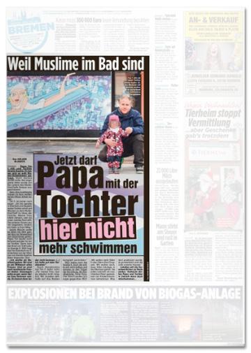 Ausriss Bild-Zeitung - Weil Muslime im Bad sind - Jetzt darf Papa mit der Tochter hier nicht mehr schwimmen