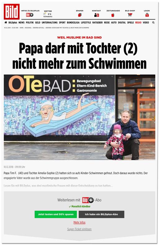 Screenshot Bild.de - Weil Muslime im Bad sind - Papa darf mit Tochter (2) nicht mehr zum Schwimmen - Papa Tim F. und Tochter Amelia-Sophie hatten sich so aufs Kinder-Schwimmen gefreut. Doch daraus wurde nichts. Der engagierte Vater wurde aus der Schwimmgruppe ausgeschlossen.