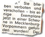 Sie blieben verboten und verschollen -- bis einige Exemplare jetzt in einer Scheune in Mecklenburg-Vorpommern gefunden wurden!