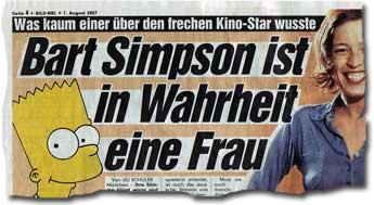 """""""Was kaum einer über den frechen Kino-Star wusste: Bart Simpson ist in Wahrheit eine Frau"""""""