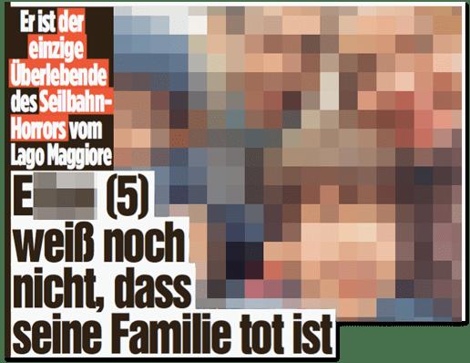 Ausriss Bild-Zeitung - Er ist der einzige Überlebende des Seilbahn-Horrors vom Lago Maggiore - E. (5) weiß noch nicht, dass seine Familie tot ist
